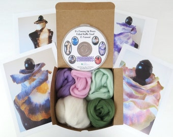Spring Flowers Wet Felted Ruffle Scarf Kit, Merino Wool, Felting Wool,Pastel Merino, Ruffle Scarf Felting Kit, Ruffle Scarf,Felting Tutorial