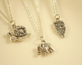 30% OFF 3sets Cute Silver Tone Owl/Elephant/Snail Necklace for Party/ Christmas Gift/ Re-sale  NC412