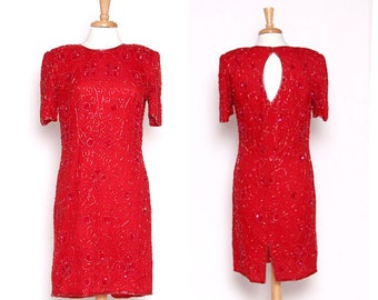 Vintage 80s Red Beaded Cocktail Dress / Party Dress / Valentines Day