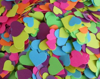 Over 2000 Mini Confetti Hearts. Neon Fluorescents. Weddings, Showers, Decorations. ANY COLOR Available.