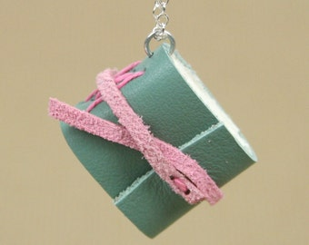 Mini Book Necklace - Green and Pink Leather Hand Bound Book