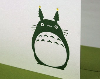 Sale - 40% off - Totoro Holiday Letterpress Card - Christmas Tree