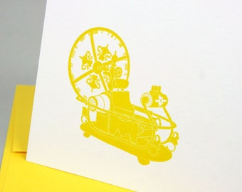 H G Wells Time Machine Letterpress Card - The Time Machine