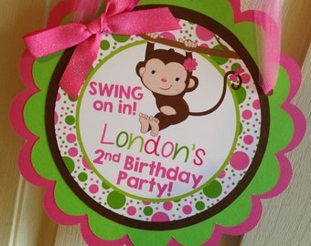 Monkey Birthday Party Door Sign in Pink and Green