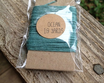 10 Yards - Solid  Baker's  Twine / String • 100% Cotton • Eco Friendly • Gift Wrap • Bakery String •  Ocean