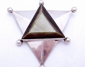 Vintage Rancho Alegre Taxco Mexican Sterling Silver Obsidian Star Pin Pendant 20173
