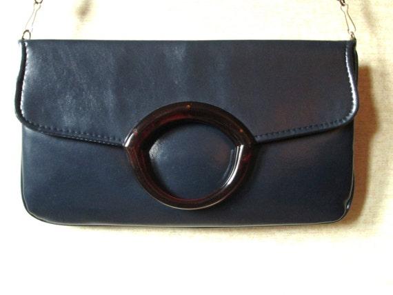 Envelope Clutch Bag long strap purse shoulder bag vintage 80s clutch purse faux leather vegan handbag navy blue hipster high fashion