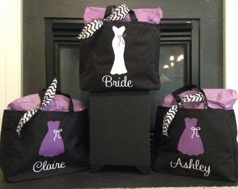 9 Personalized Bride and/or Bridesmaid Tote Bags