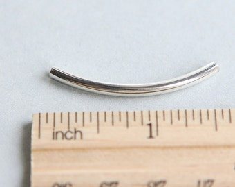 Sterling Silver Tube, Sterling Silver Link, Sterling Silver Curved Tube Bead, Tube Bead, Silver Tube, Silver Noodle Beads, 35mm ( 1 piece )