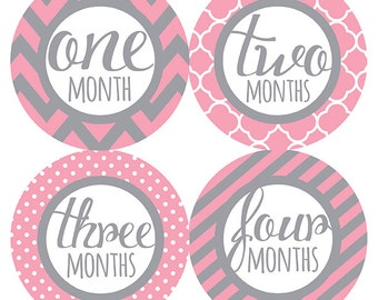 FREE GIFT, Monthly Baby Stickers Pink Gray, Baby Month Stickers Pink Gray, Baby Month Stickers Pink Gray, Monthly Milestone Stickers