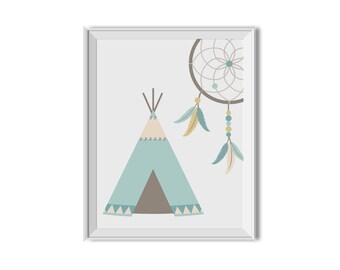 Teepee, Teepee Art, Dream Catcher, Dreamcatcher, Tee Pee, Tribal Decor, Nursery Art, Children's Room Art, Chevron, Mint, Teal, Tribal