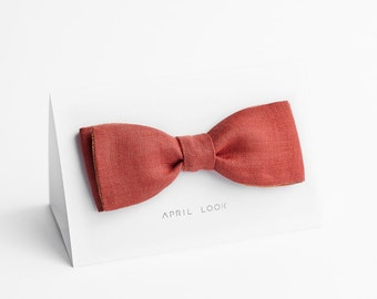 Coral orange bow tie, self tie - double sided