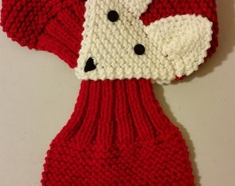 Adjustable KIDS or Adult  Fox Scarf Hand Knit Scarf / neck warmer (Red)