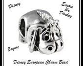 DISNeY - EEYORE - Donkey - WiNNIE the PooH - Excellent Quality - 18KGP Darker Silver Tone Charm Bead - fits European Bracelets - MS-1064