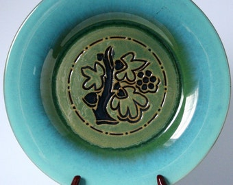 1950's Romany Tiles Plate, vintage green and aqua art pottery, Tree of life design