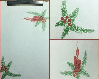 Candlelight Christmas // 50s 60s Red Green White Paper Placemats Hostess Gift Party Decor Table Decoration Holiday Craft
