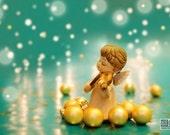 Gold and Turquoise holiday decor, Christmas photograph, Christmas Angel, Angel playing violin, Christmas carol,