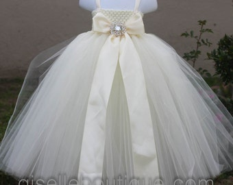Flower girl dress. Ivory with a Ivory Bow .baby tutu dress, toddler tutu dress, wedding, birthday,