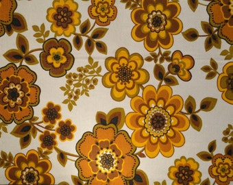 Vintage 70's Material Fabric-Bold Flowers Floral-Earth Tones-Rust,Ochre,Olive Green,Golden Brown-Medium Weight