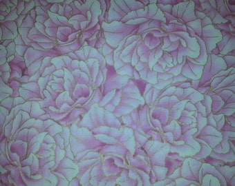 Hummingbird , Beautiful packed pink flowers with metallic by Chong A wang for Timeless Treasures of So Ho 1 yard cotton quilt fabric
