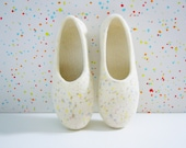 Felted woman slippers / house shoes. Color drops. Mothers day gift.