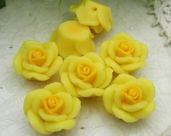 6 Pcs  Beautiful Fimo Rose Flower  14mm,Yellow   (WP14-010)