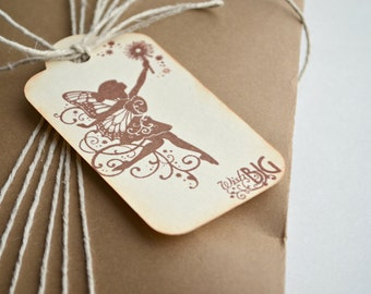 Fairy Tags, Tinkerbell Wish Tags, Wish Big Gift Tags, Brown Satin Ribbon, Set of 6 tags, Étiquettes Cadeaux Fée, Fais un Voeux