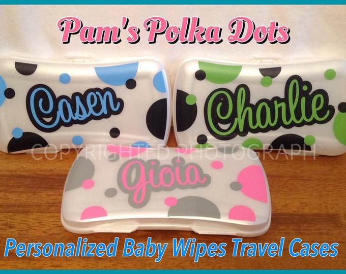 Personalized BABY WIPES CASE White Plastic Refillable with Name Polka Dots Travel Diaper Bag Case New Baby Shower Gift for Girl or Boy