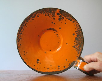Mid Century Hanova Orange Enamel Candle Holder
