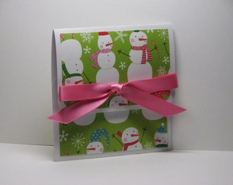 Smiley Snowmen Merry Christmas Gift Card Holder