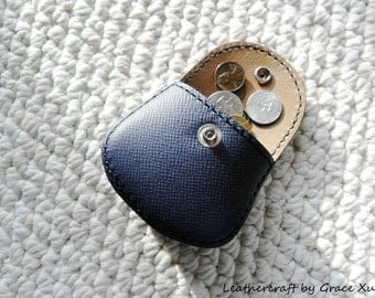 100% hand stitched handmade dark slate blue cowhide leather Ipod, ear buds, coin, trinket, jewelry,case / pouch