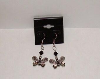 """1"""" L. x 3/4"""" W.  Silvertone Butterfly Charm w/ Black Swarovski Crystal  Earrings"""