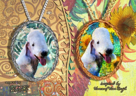 Bedlington Terrier Jewelry Pendant - Brooch Handcrafted Porcelain by Nobility Dogs - Gustav Klimt and Van Gogh