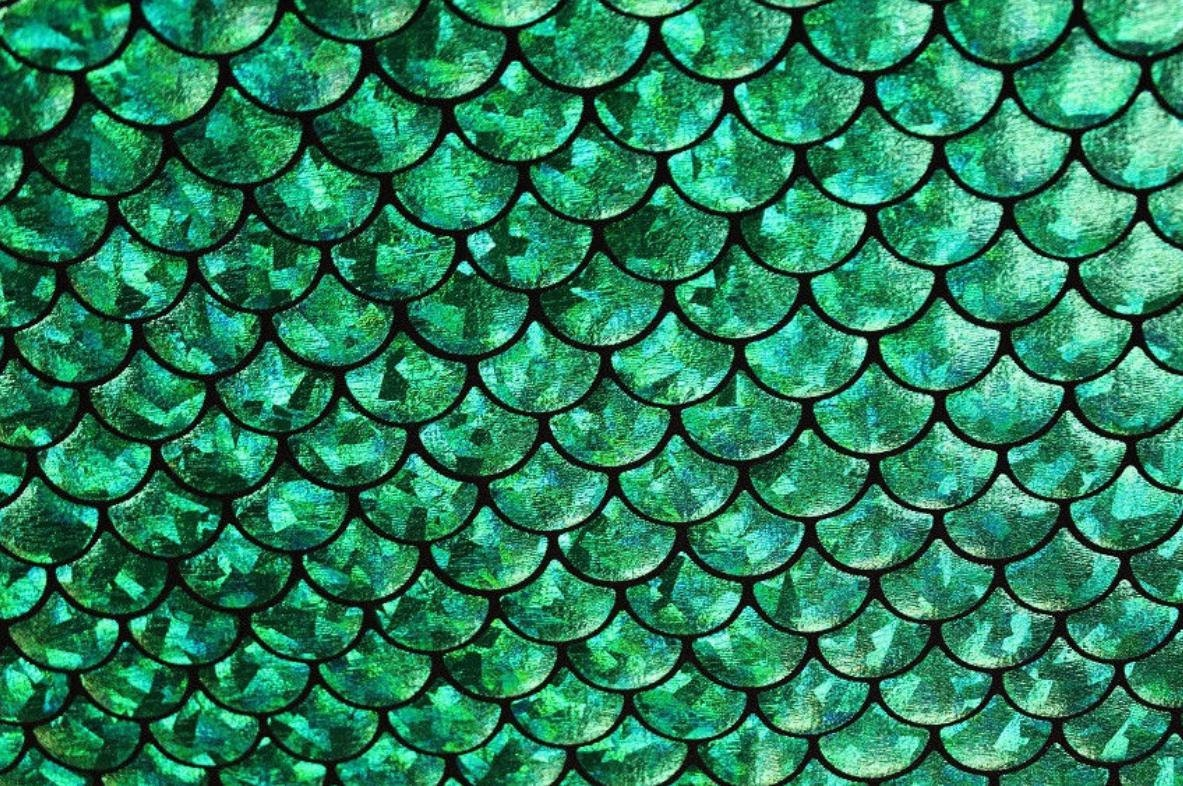 58 wide 4 way stretch green mermaid hologram spandex for Get fish scale