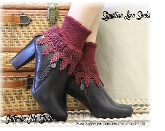 SIGNATURE lace socks in Garnet, women socks lacey socks short boot socks ladies hosiery lace cuff socks shooties  Catherine Cole Studio SLC2