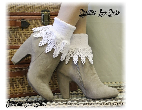 SIGNATURE LACE in  White,  womens socks lacey socks short boot socks ladies hosiery lace cuff socks Catherine Cole Studio SLC2