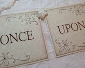Once Upon A Time Banner - Bridal Shower Decor - Wedding - Photo Prop