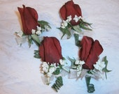 Set of (4) Red Rose Boutonniere with Babies Breath. Deep Red Claret Apple. Groom Wedding Boutonniere Father of the Bride Destination Wedding