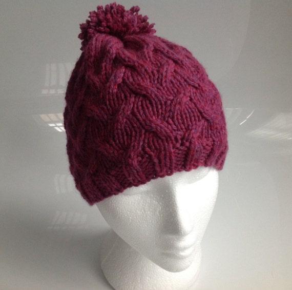 Raspberry Stitch Knit Hat Pattern : Ladies Raspberry Chunky with Merino Wool Cable Stitch Beanie
