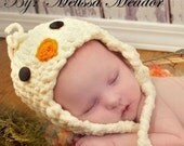 Chick hat, baby chick hat in yellow fleece with orange trim. Sizes newborn through adult available. made to order.
