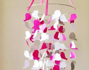 Pretty In Pink Bird Mobile DIY Kit ///  Nursery Decor, Photo Prop, Baby Shower Gift, Mobile.