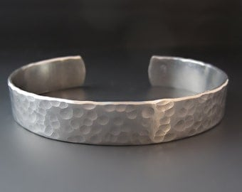 1/2 Inch Personalized Silver Cuff Bracelet /Hand Stamped Custom Bracelet / Personalized Jewelry / Anniversary Gifts / Aluminum / Graduation