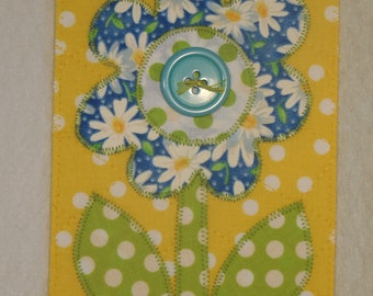 Flower Birthday Mom Friend Card Fabric Postcard -MADE TO ORDER- Child Frame Him Her Gift Thank You Love Housewarming Room Decor Quilted 4x6