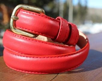 Red Leather Vintage Belt