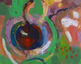 "Garden 60"" Original acrylic landscape on canvas 6"" x 8"" x 1"" Abstract, contemporary, red,blue,green, yellow"