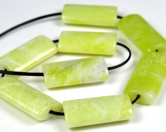 Lovely Lemon Jade Slim Tapered Rectangle Beads - 16mm x 8mm - 8 Pieces - B2318