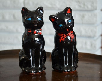 Black Cat Salt and Pepper Shakers - Boy Cat and Girl Cat Blue Eyes Beautiful