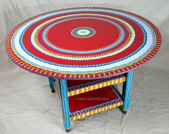SOLD- Sample of CUSTOM WORK-Hand Painted Furniture- Drop Leaf Table With Shelves. Please read the description.
