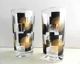 Mid Century Modern Mad Men Era Vintage Black Gold Highball Glasses Set of 2