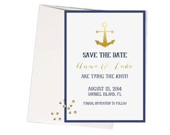 Nautical Save-the-Dates - Navy and Gold Set of 12